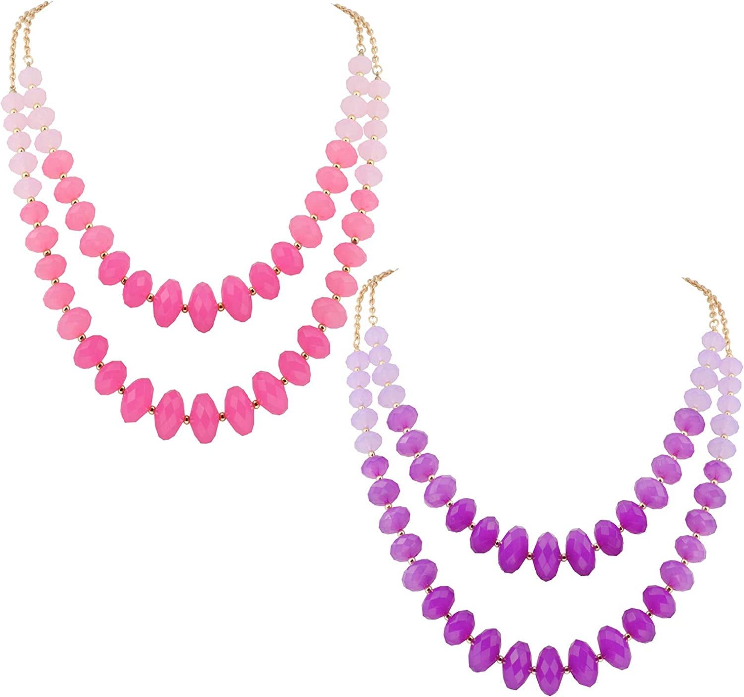Coiris Gold Chain Gradient Color Big Acrylic Beads Statement Strand Necklaces