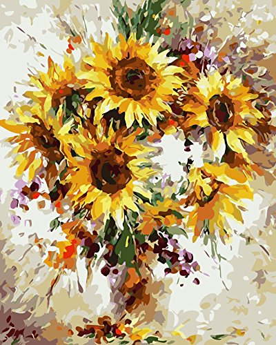 Rihe DIY Oil Painting Paint by Numbers Kits for Adults Kids Beginner - Sunflower 16 x 20inch with Brushes and Acrylic Pigment (Without Frame)