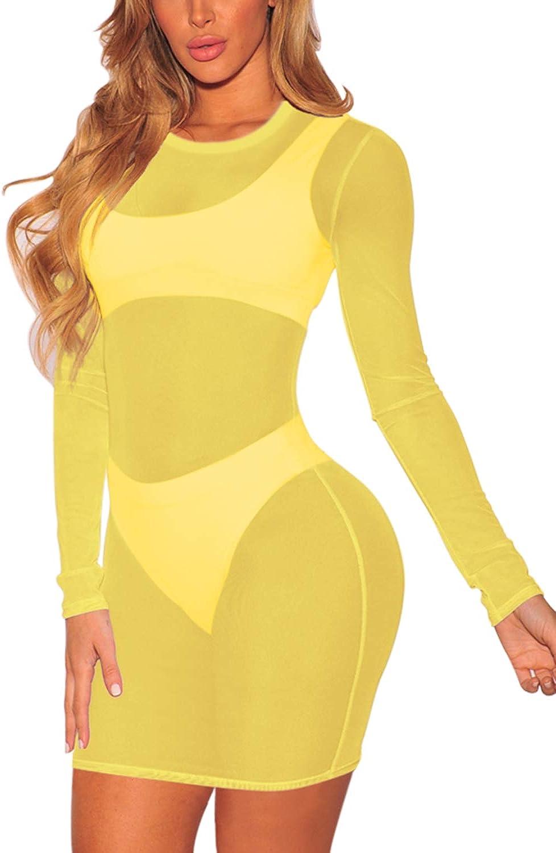TEWWEY Women's Long Sleeve Sheer Mesh See Through Swimwear Bikini Swimsuit Beach Cover Up Mini Dress