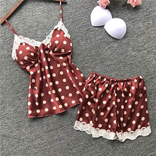 JFCDB Zomer pyjama,Dames Pyjama Pad Satijn Bloemenprint Pijamas Dames 2-delige set 2019 Zomerpyjama voor dames Pyjama Nachtpakken, rood, L