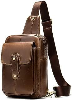 Sturdy Multifunctional PU Material Men and Women Pockets Shoulder Messenger Handbag Chest Handbag Motorcycle Handbag Mobile Phone Handbag Purse Size 16 * 5.5 * 24CM. Large Capacity (Color : Brown)