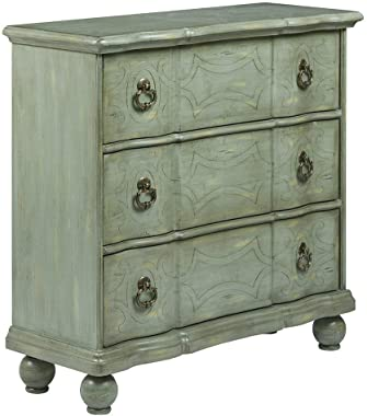 Madison Park Scroll Accent Chest - Hardwood Living Room 3-Drawer Storage - Antique Blue Green, Vintage Rustic Style Floor Cabinet