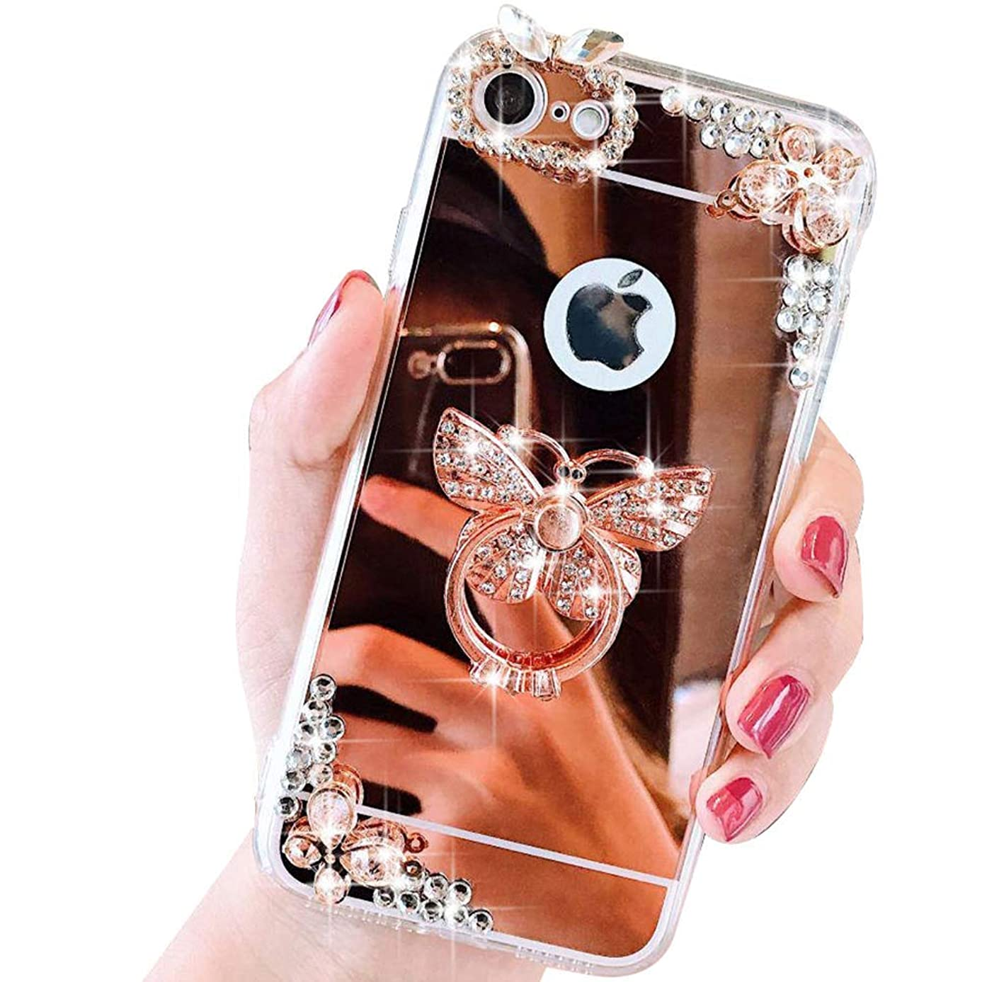 Case for iPhone Xs Max LAPOPNUT Luxury Crystal Rhinestone Case 3D Bling Glitter Diamond Butterfly Ring Stand Holder Rose Gold Thin Protective Sparkle Case Back Mirror Cover