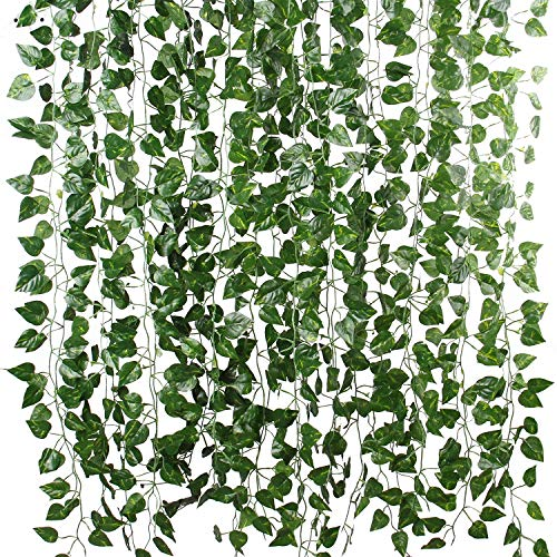 Flojery 78Ft 12pcs Silk Artificial Ivy Vine Hanging Leaves Plant Greenery Decor Party Home Garden Wedding Wall Decor (Scindapsus)