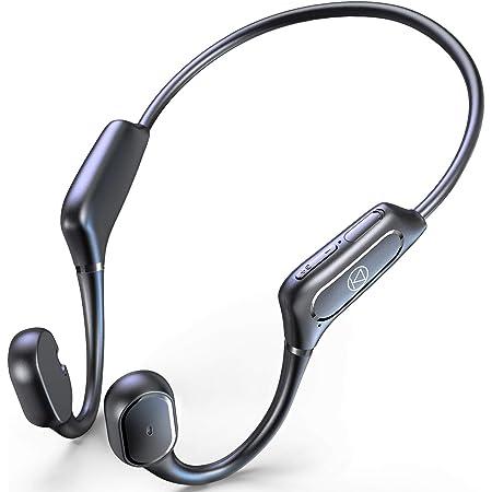 骨伝導イヤホン 【Qualcomm aptXに対応 Bluetooth5.1技術】 Bluetooth イヤホン スポーツ仕様 ワイヤレスイヤホン 12時間超長再生 ブルートゥース イヤホン Hi-Fi 超軽量 耳掛け式 両耳通話 CVC8.0ノイズキャンセリング 防水機能 AAC対応 一年間保証付き (ブラック)