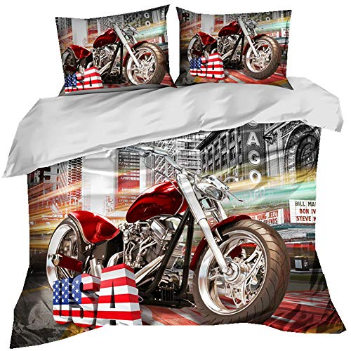 Stillshine Bettwäsche Einzelbett 135x200 3D Urban Harley Formelrennen Geländemotorrad Wüstenrennende Flamme Mehrfarbig Bettbezug und Kissenbezug Student Teenager Junge Mädchen