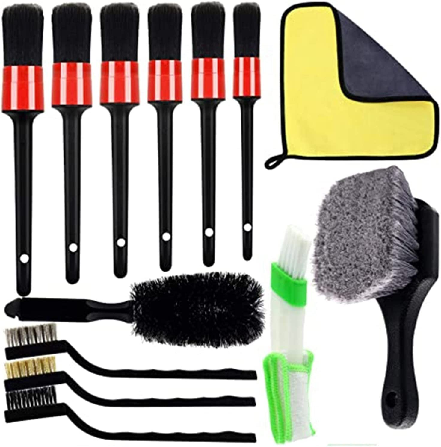 YXIUER 13pcs Car Great interest Cleaner Brush Set D Microfiber Cloth with New color Waxed