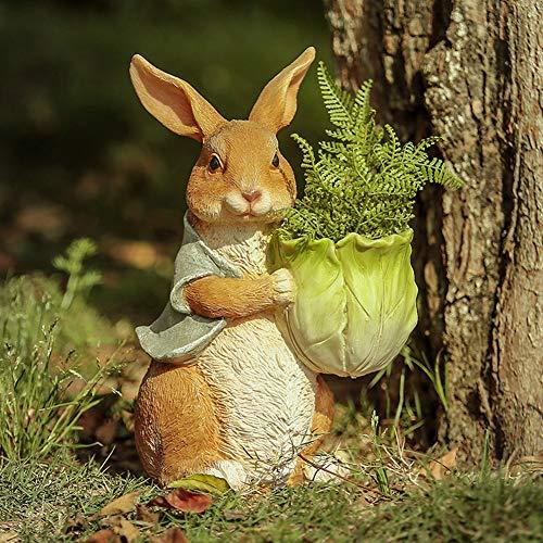 Art Secret Rabbit Garden Planter Outdoor Statue, Bunny Hug Cabbage