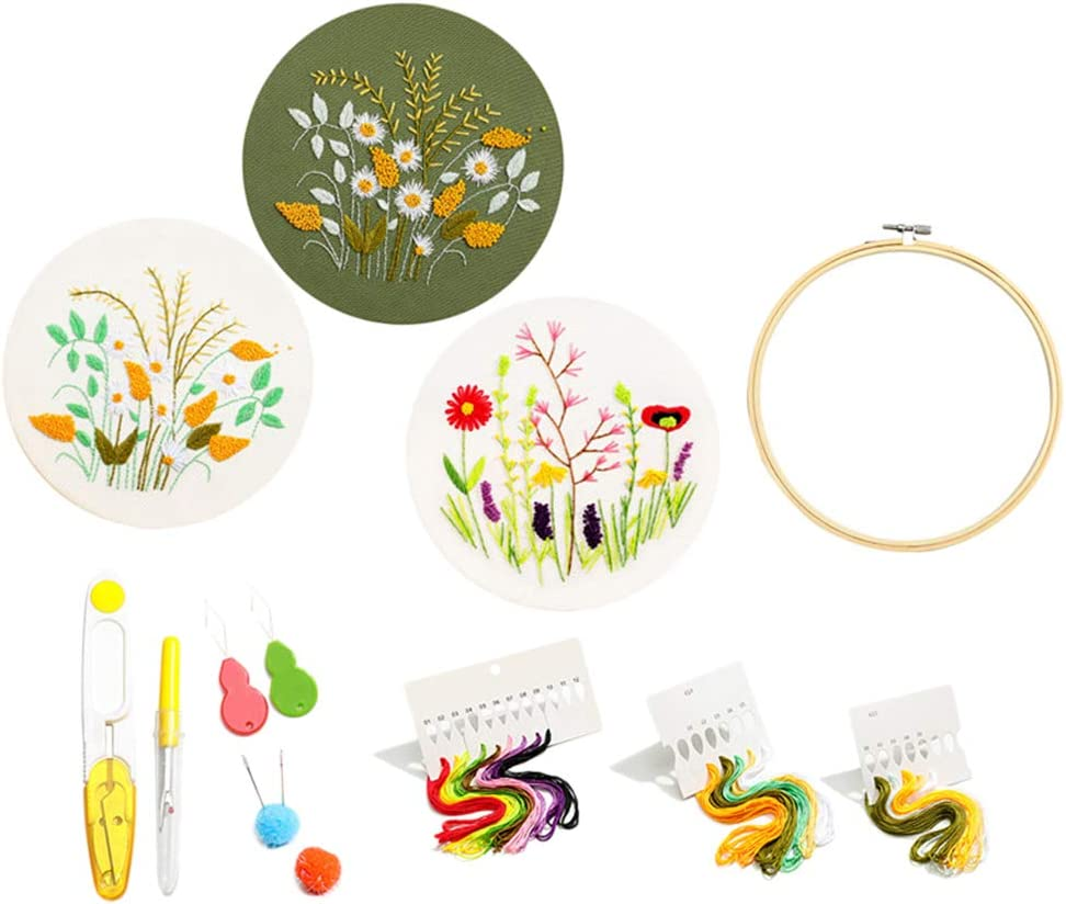 shamjina Stamped Embroidery Starter Kit Cross DIY Max 59% OFF Floral Sewing Mail order cheap