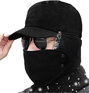 Winter 3 in 1 Thermal Fur Lined Trapper Bomber Hat with Ear Flap Full Face Mask Windproof Baseball Ski Cap