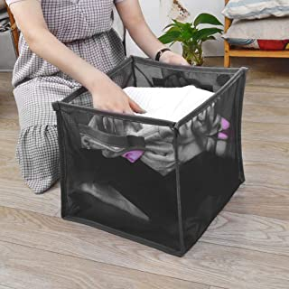 SAQIMA Laundry Hampers Basket Collapsible with Carry Handle Net Cloth Hanger Storage Basket Dirty Clothes Free Standing Folding Laundry Hamper Bag (Black)