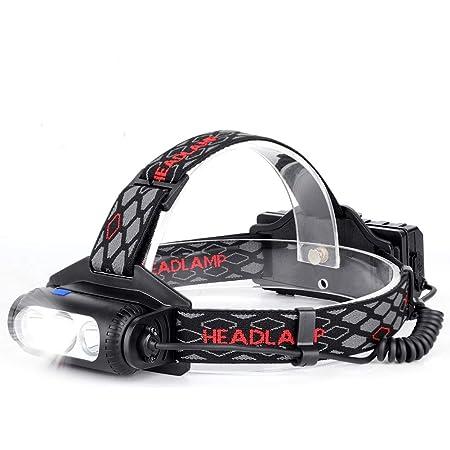 Haofy Linterna Frontal, LED Linterna de Cabeza Recargable USB Baterías, 6000 Lúmenes, 8 Modos de Luz, IPX54 Impermeable con Luz Roja de Advertencia ...