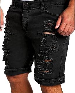 Hombre Verano Vaqueros Cortos - Fashion Straight Fit Casual Pantalones Rotos Moda Cintura Media Slim Fit Denim Shorts Pant...