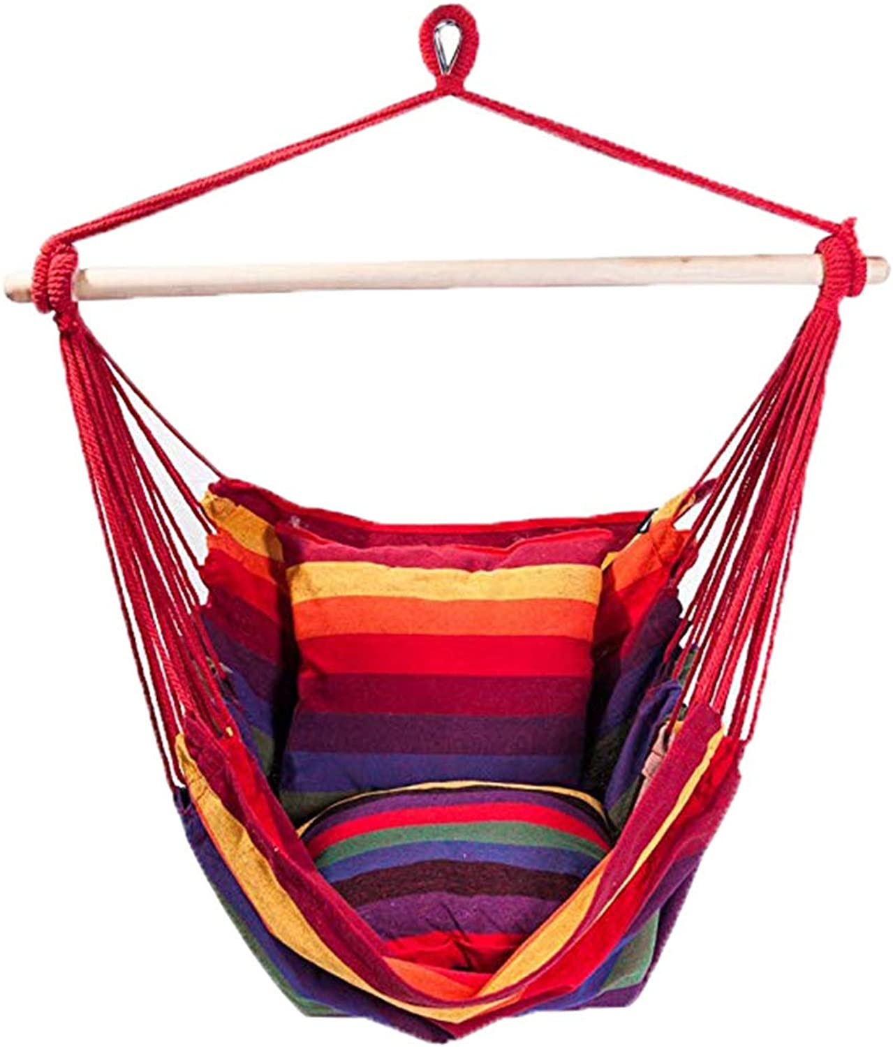 Deluxe Padded Cotton Hammock Hanging Chair Indoor Outdoor Use- Rainbow Multicolor