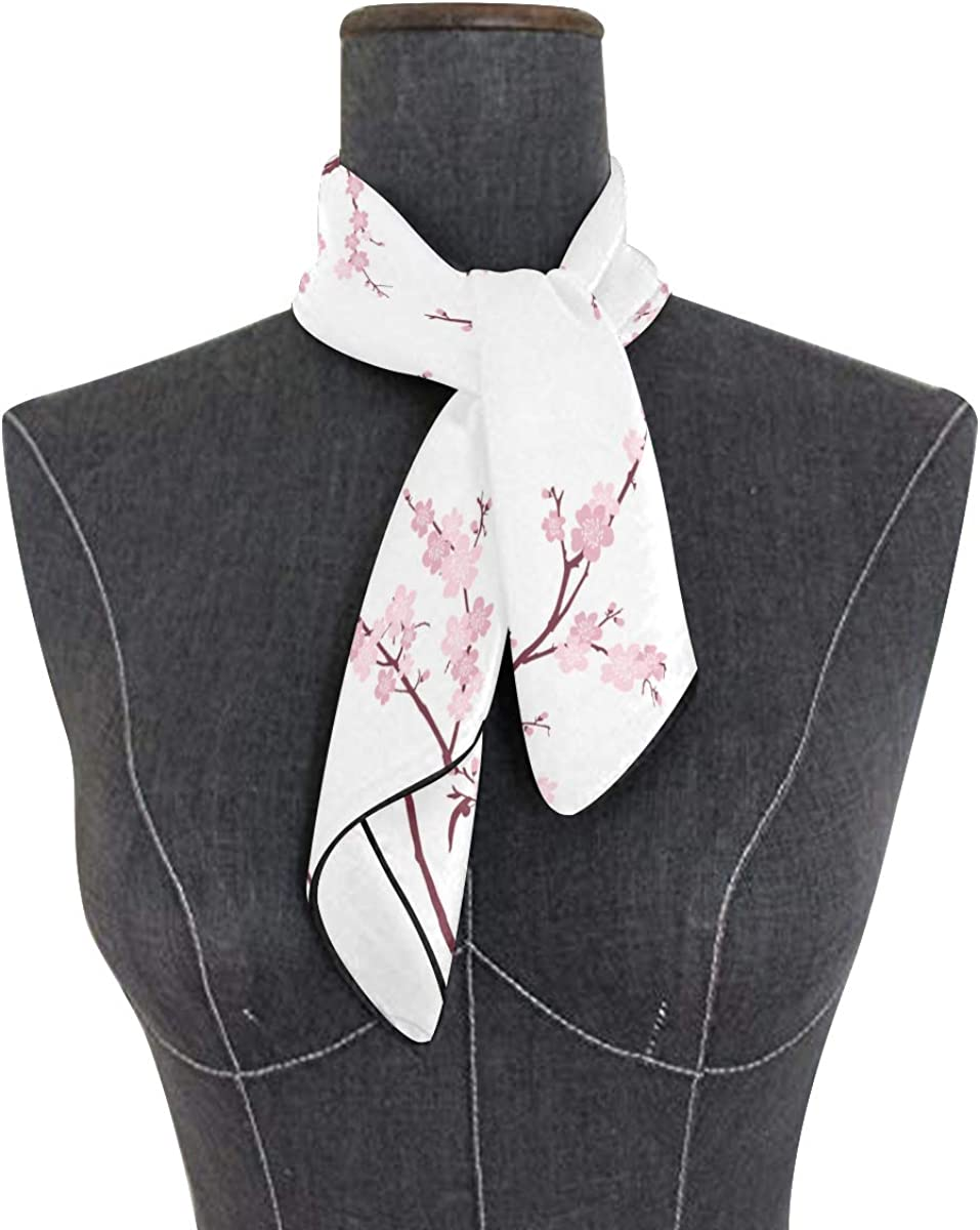 Women's Soft Polyester Silk Square Scarf Vintage Japanese Cherry Blossom Pattern Pink Spots Fashion Print Head & Hair Scarf Neckerchief Accessory-23.6x23.6 Inch