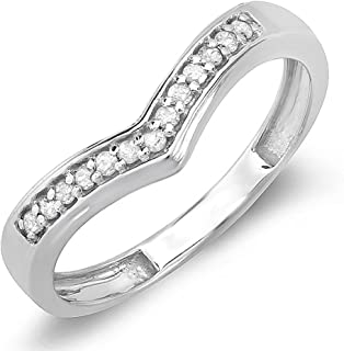 0.15 Carat (ctw) Round Real Diamond Wedding Stackable Band Anniversary Guard Chevron Ring, Sterling Silver