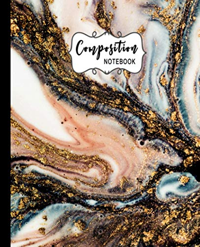 Composition Notebook: Wide Ruled Paper Notebook Journal: Golden Swirl Marble Blank Lined Workbook for Teachers and Students | Kids Teens Girls Boys ... Notes | Perfect Size 7.5 X 9.25 Inches