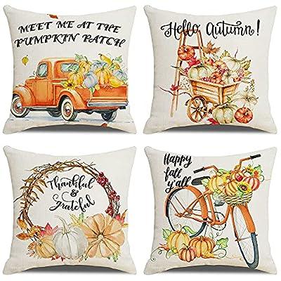 Fall Pillow Covers 18x18 Set of 4, Fall Decorat...