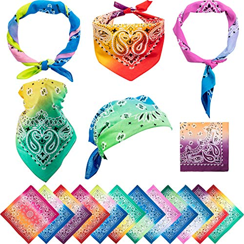 Boao 12 Pieces Novelty Gradient Bandana Classic Paisley Cotton Handkerchief (Gradient-colors)