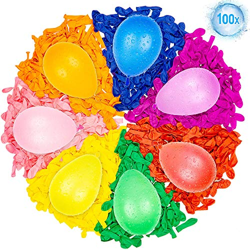 Self-Sealing Water Balloons Instant Balloons Easy Quick Fill Balloons with in 60 Second Splash Fun Rapid-Filling for Kids and Adults Party (Multicolored with 3 Water Injection Hole) 100PCS