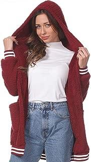 Women Fuzzy Fleece Sherpa Hooded Jacket Coat Solid Faux Fur Open Front Cardigans Oversize Loose Outwear Tops with Pocket