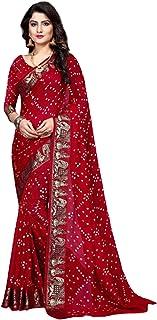 Indian Traditional red Bandhej Art Silk Zari weaving Festival Bandhani Printed Saree Blouse Sari 6316