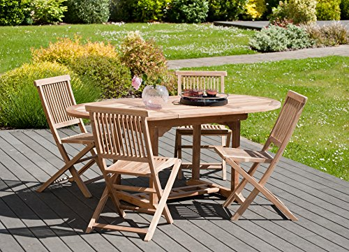 MACABANE 501166 Table Ovale Couleur Brut en Teck Dimension 120/180cm X 120cm X 75cm