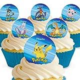 12 x Vorgeschnittene und Essbare Pokemon Kuchen Topper (Tortenaufleger, Bedruckte Oblaten, Oblatenaufleger) -