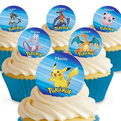 12 x Vorgeschnittene und Essbare Pokemon Kuchen Topper (Tortenaufleger, Bedruckte Oblaten, Oblatenaufleger)