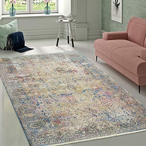Paco Home Alfombra Diseño Vintage Estampado Oriental Centro Atención Ornamento Multicolor, tamaño:160x230 cm