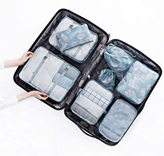 Packing Cubes for Travel, 8 Pcs Luggage Organizer for Suitcase, Laundry Bag, Toiletry Bag, Cable Storage Pouch, Shoe Bag, Drawstring Pouch,E