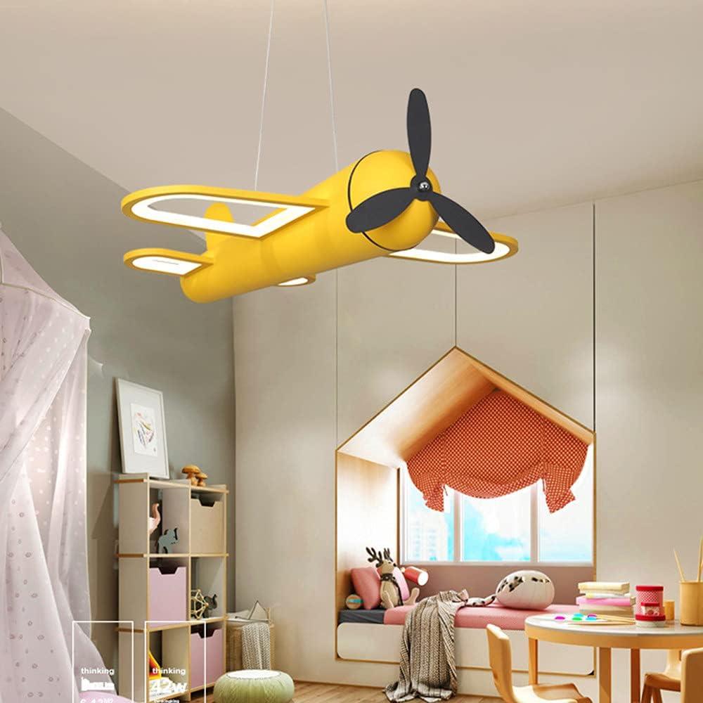 GGMWDSN Lampara Ventilador Techo Infantil, Luz de Ventilador de Techo con Forma de AvióN, Luz De Ventilador Silencioso, Ventilador de Techo Interior y HabitacióN para NiñOs, Sala de Estar,YellowM
