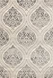 Transitional Floral Damask Area Rug 5' x 7' Cream/Gray