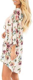 Bena - Kimono suelto de gasa con estampado floral para mujer