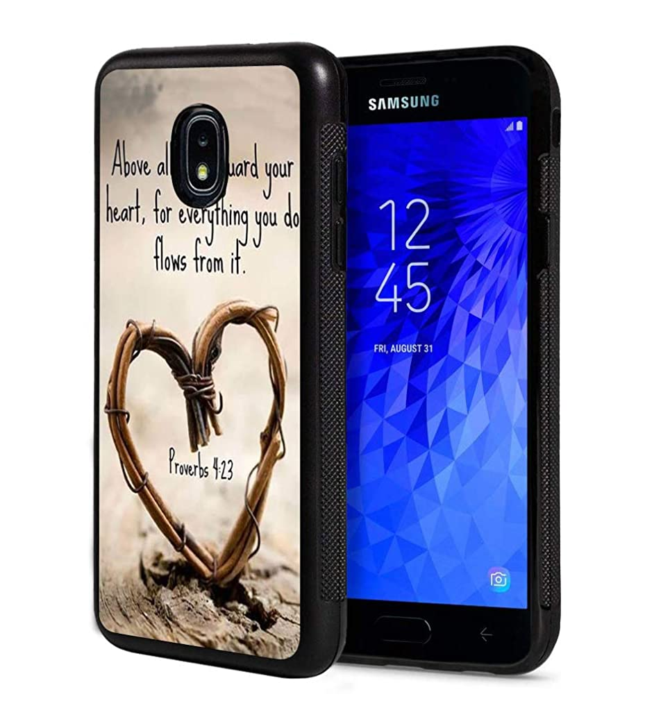 Galaxy J7 2018 Case,Bible Verse Proverbs 4:23 Above All Else,Guard Your Heart,for Everything You do Flows from it Slim Anti-Scratch Rubber Protective Cover for Samsung Galaxy J7 (2018)