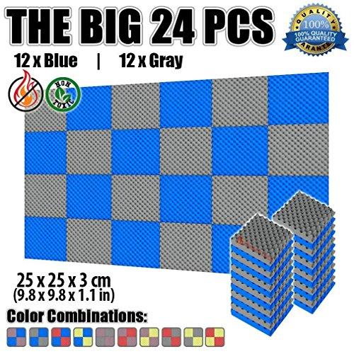 Super Dash Pacco da 24 di 25 X 25 X 3 cm Eggcrate Schiuma Fonoassorbenti Isolanti Studio Acustici Parete Piastrelle Pannelli SD1052 Grigio e blu