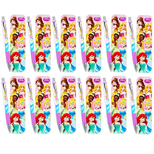 Disney Princess Pens Value Bulk Set Bundle - 12 Pack Princess Ballpoint Pens with Bookmarks (Princess School Supplies, Office Supplies, Party Favors)