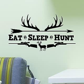 Eat Sleep Hunt Rifles Racks Deer Bow Hunting Wall Sticker Vinyl Decal Home Art Decor Soldiers Boys Kids Home Room Decor