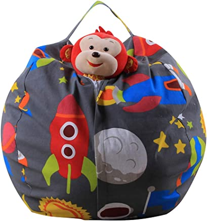 Children s Toy Clothes Storage Bag  Home Storage Comfort Seat  Large-Capacity Canvas Bean Bag  Storage Box  Gray Animal Pattern Natural 26 quot