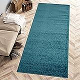 Carpeto Rugs Modern Läufer Flur Teppich Einfarbig Muster - Flauschige Flachflor Teppiche für Wohnzimmer, Schlafzimmer, Kinderzimmer - Kurzflor in Versch. Größen Pastell Farben Türkis 80 x 300 cm