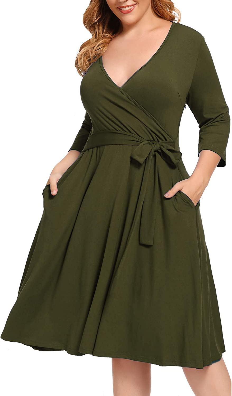 BEDOAR Women's 3/4 Sleeve Plus Size Knee-Length Sheath Cocktail Party Wrap Dresses