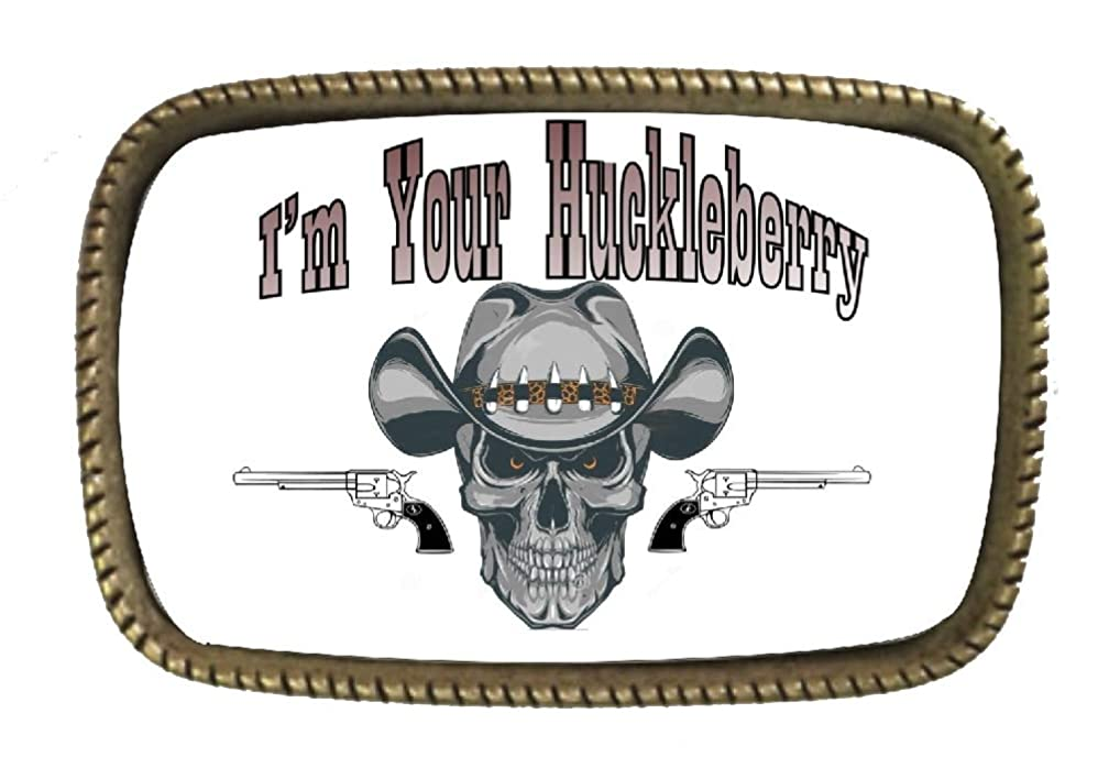 I'm Our Huckleberry Skull And Guns Belt Buckle