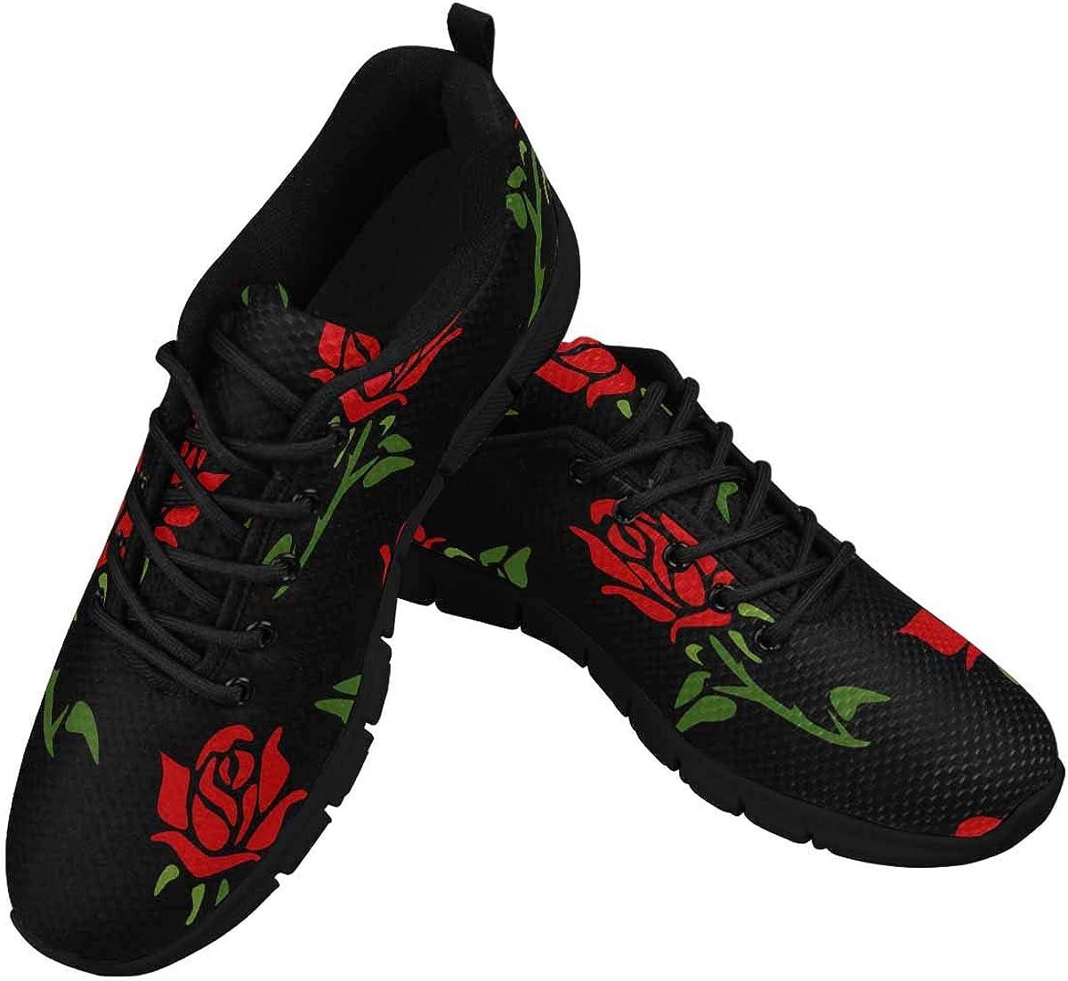 INTERESTPRINT Red Roses Pattern Women's Tennis Running Shoes Lightweight Sneakers