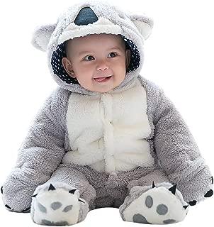 mikistory Infant Romper Newborn Unisex Fleece Snowsuits Winter Snow Wear Clothes Jumpsuit Cartoon Hooded Romper 3-18 Month