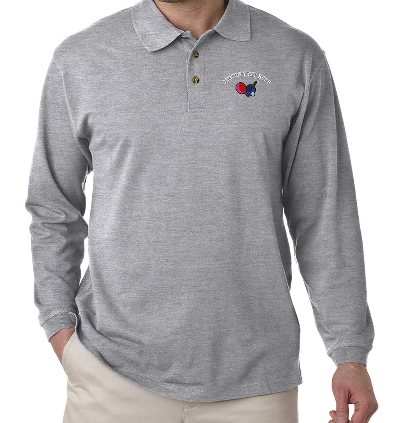 Custom Text Embroidered Table Tennis Long Sleeve Cotton Polo Golf Shirt