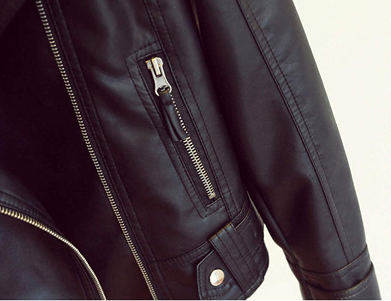 Minetom Damen Kunstleder Biker Jacke Kurz Übergangsjacke Leder Optik Bikerjacke Langarm Reißverschluss Herbst Mantel mit Kette C Schwarz