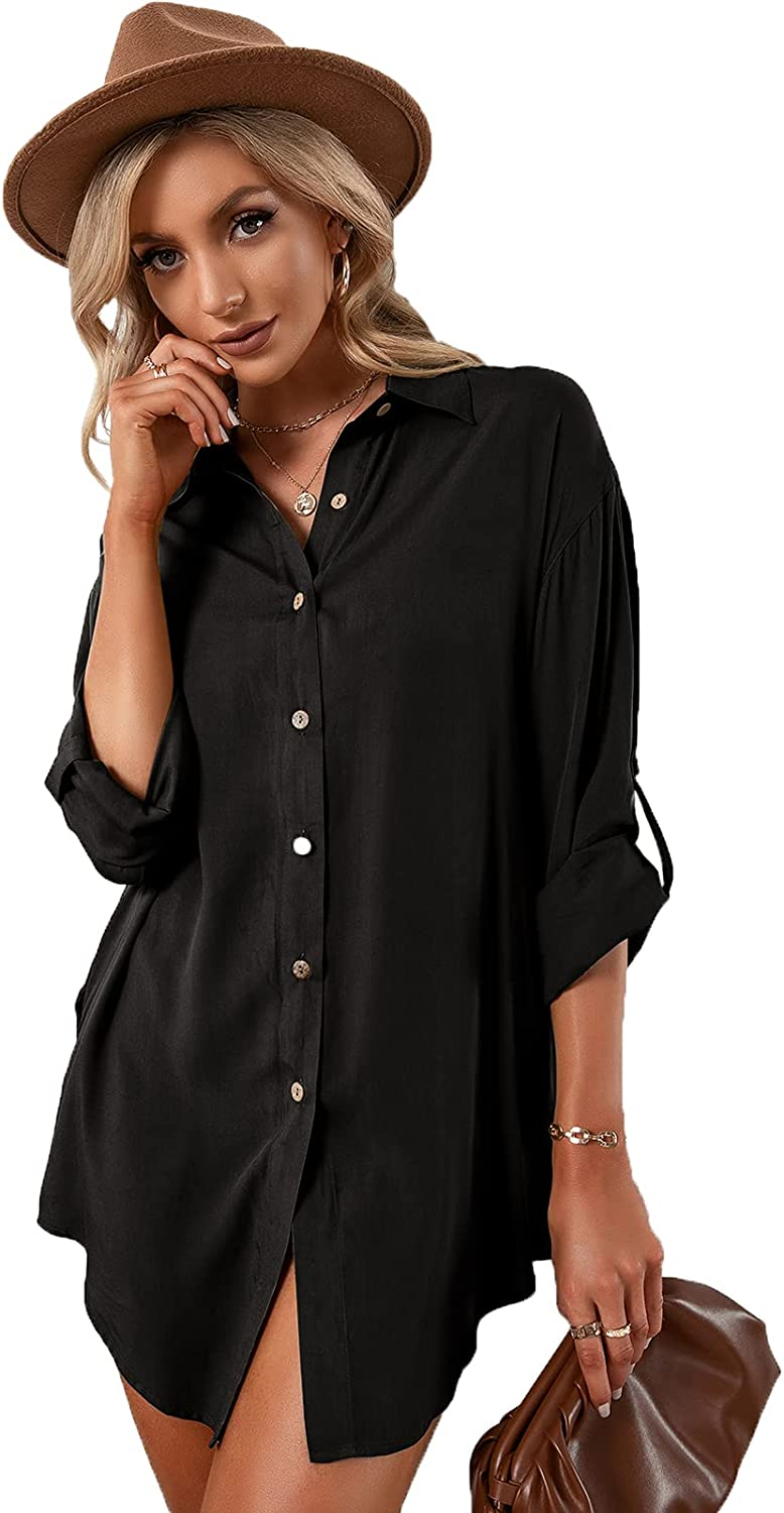 Womens Blouses Long Sleeve Button Down Shirts Oversized Cover Ups Casual V Neck Solid Color Tops