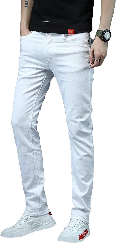 LLTT Men's Thin Stretch Beauty products Slim Fit Jeans Com Popular Cotton Coloured Plain