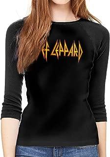 Def Leppard Journey 2018 TOU Hysteria Women Baseball T Shirts 3/4 Sleeve Tee Tops