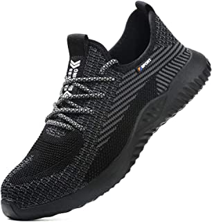 Mens Womens Safety Shoes Steel Toe Cap Trainers Lightweight Work Shoes Breathable Utility Footwear Industrial Sneakers Pun...
